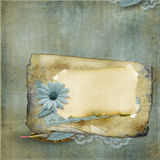 Vintage background with old card and  flower Royalty Free Stock Photos