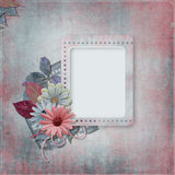 Vintage background with old card and  flower Royalty Free Stock Photo