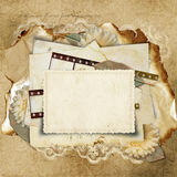 Vintage background with old cards. Vintage  background with card and filmstrip for congratulations and invitations Stock Photography