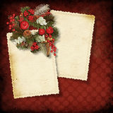Vintage  background with old Christmas card Stock Photos
