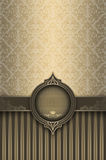 Vintage background with old-fashioned patterns and frame. Royalty Free Stock Photo