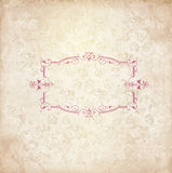 Vintage background with old floral frame space for your text Stock Photos