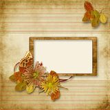 Vintage background with old frame and flowers Stock Photos