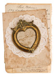 Vintage background with old handwritten post cards Royalty Free Stock Photos