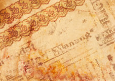Vintage background - old paper. With texture lace, newspaper and rusty spots vector illustration