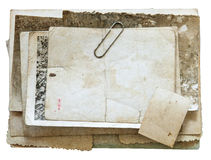Vintage background with old paper, letters and photos isolated on white Stock Photos