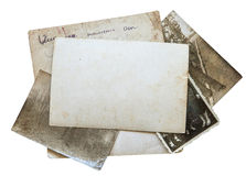 Vintage background with old paper, letters and photos isolated on white Royalty Free Stock Photography