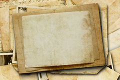 Vintage background with old paper and letters on wood Royalty Free Stock Photo
