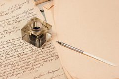 Vintage background with old paper, old ink pen Royalty Free Stock Photo