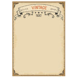 Vintage background on old paper with ornate frame and scroll. For text Stock Image
