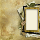 Vintage background with old photo-frame Royalty Free Stock Images