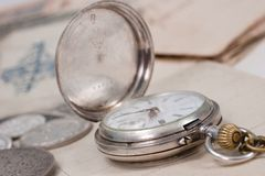 Vintage background with old pocket watch Stock Image