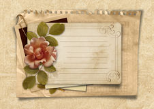 Vintage background with old postcard and rose Royalty Free Stock Photos