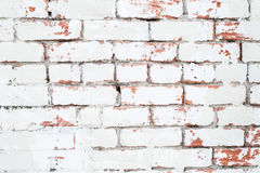 Vintage background: old red and white brick wall. Old white brick wall with textured background. whitewashed grunge brick wall with red and white vintage stock photo