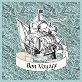 Bon Voyage. Vintage background with old ship. Bon Voyage Stock Photo