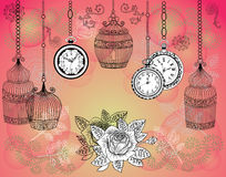Vintage background with old watches, cages and roses Stock Photo