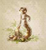Vintage background with olive oil Stock Photo