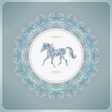 Vintage background with ornamental horse Stock Photos