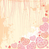 Vintage background with ornate hearts Royalty Free Stock Images