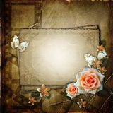 Vintage background with  paper card. Vintage background with  paper  card, butterfly and flowers Royalty Free Stock Photo