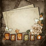 Vintage background with  paper  cards. Vintage background with  paper cards and flowers Royalty Free Stock Images