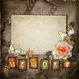 Vintage background with  paper  frame. Butterfly and flowers Royalty Free Stock Image