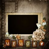 Vintage background with  paper  frame and flowers. Vintage background with  paper  frame, butterfly  and flowers Stock Photography