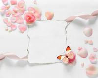 Vintage background with paper-frame and petals for congratulations. And butterfly stock images
