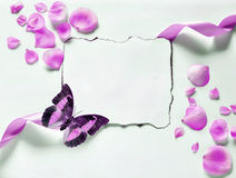 Vintage background with paper-frame and petals for congratulations Stock Photography