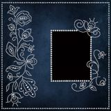 Vintage background with patterns and curls of rhinestones and a frame for a photo Stock Image