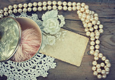 Vintage background with pearl beads Royalty Free Stock Images