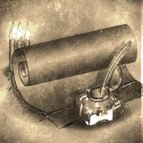 Vintage background with pen Stock Photography