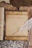 Vintage background with a pen and writing Royalty Free Stock Images