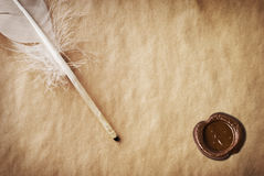 Vintage background with a pen and writing Royalty Free Stock Photos