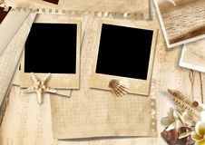 Vintage background with photo-frame and seashells Stock Image