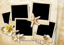 Vintage background with photo-frames and seashells Royalty Free Stock Image