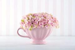 Vintage background with pink hydrangea Stock Image