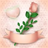 Vintage background with pink rose Royalty Free Stock Photo