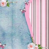 Vintage background with pink roses, butterfly Stock Photo