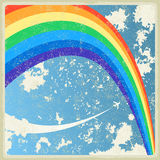 Vintage background with plane and rainbow. Vector Stock Photography