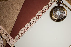 Vintage background with pocketwatch Royalty Free Stock Image