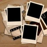 Vintage  background with polaroid frames. Vintage   background with photoframe.page family album Stock Photos