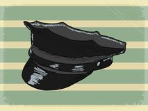 Vintage background with police peaked cap Royalty Free Stock Photography
