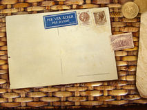 Vintage background with postcard Royalty Free Stock Photos