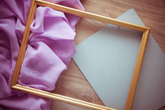 Vintage background for postcard with lilac drapery Royalty Free Stock Photos