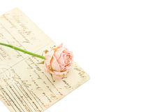 Vintage background with postcards and flower Royalty Free Stock Images