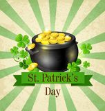 Vintage background with pot of gold Stock Photo