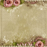 Vintage background with purple roses Royalty Free Stock Image