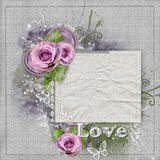 Vintage background with purple  roses, lace Stock Photography