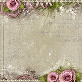 Vintage background with purple roses Royalty Free Stock Photos